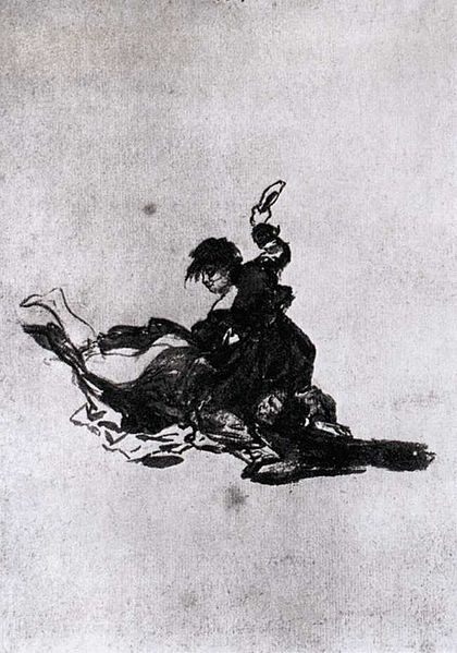 Woman Hitting Another Woman with a Shoe by Goya (1812-23)