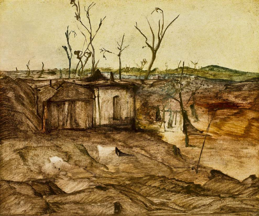 Sidney Nolan - Deserted miners' Camp, Queensland, c.1949, ripolin on hardboard. 62.5 x 75 cm