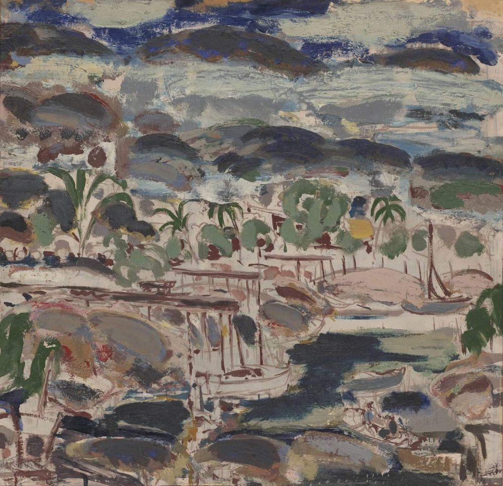 Ian Fairweather - Alligator Creek, Cairns, 1939, oil and gouache on cardboard. 50.7 x 51.6 cm
