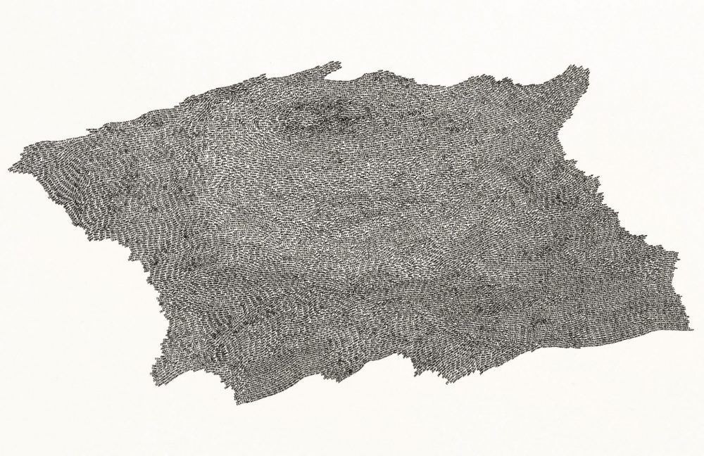 A drawing of an irregular shape entirely composed of the repitition of the handwritten word, zero