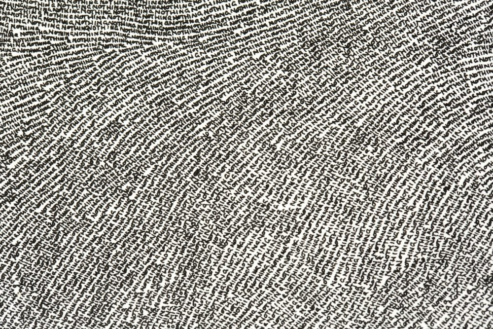 A close up of a drawing entirely composed of the repitition of the handwritten word, nothing.